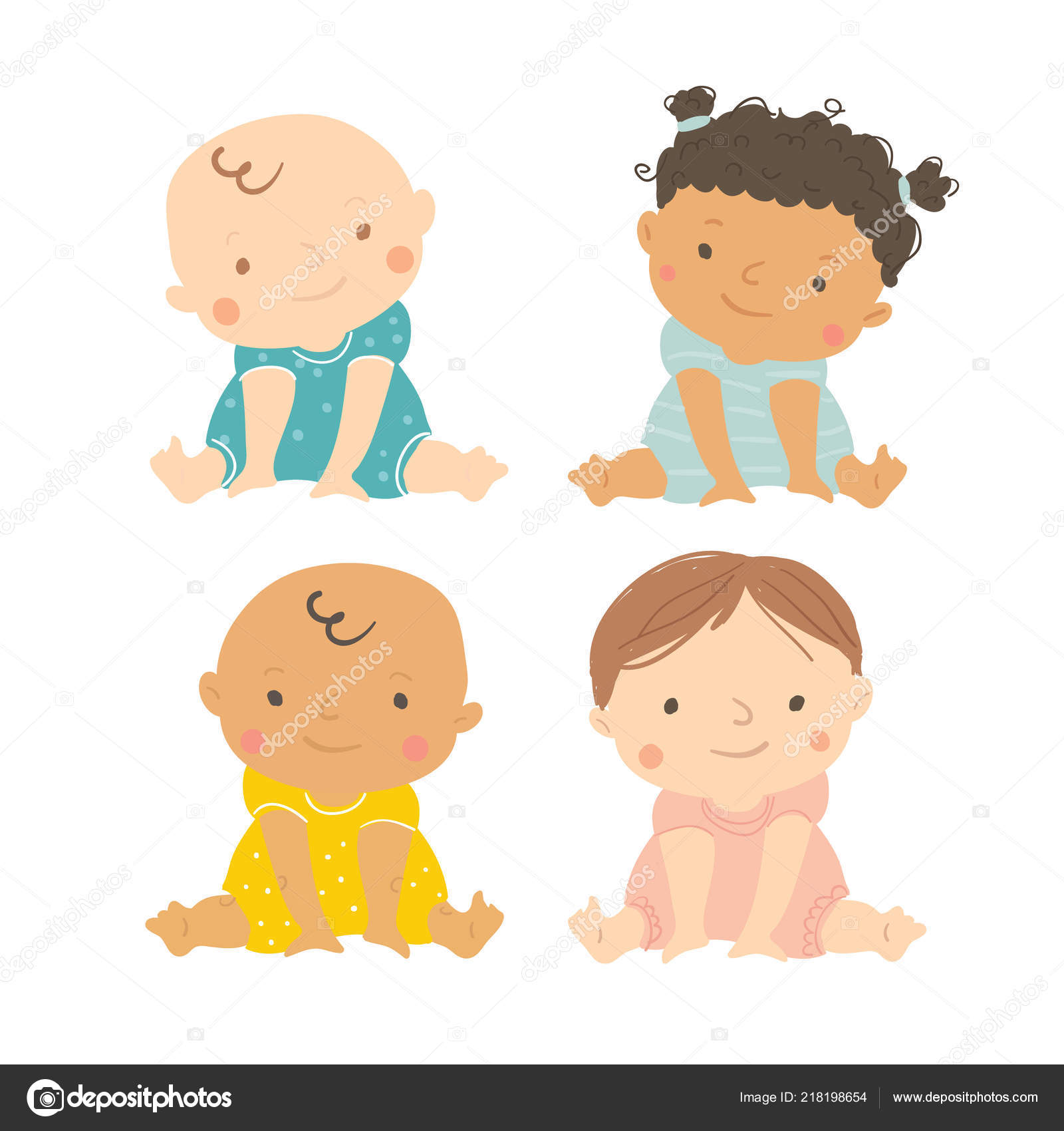 Vektor Baby Multietnicke Sada Miminek Stock Vektor C Tvovchek