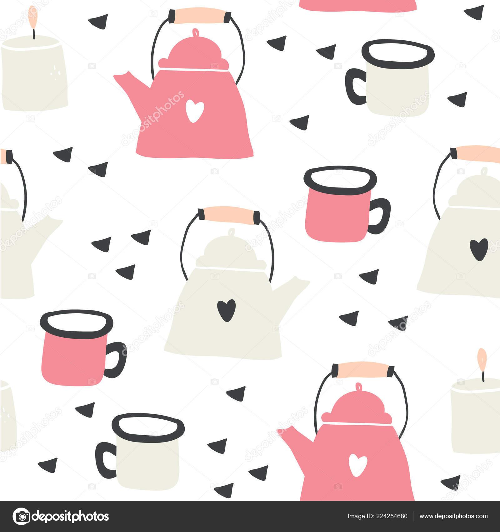 Teteras y tazas de patrones sin fisuras con corazones — Vector de ...