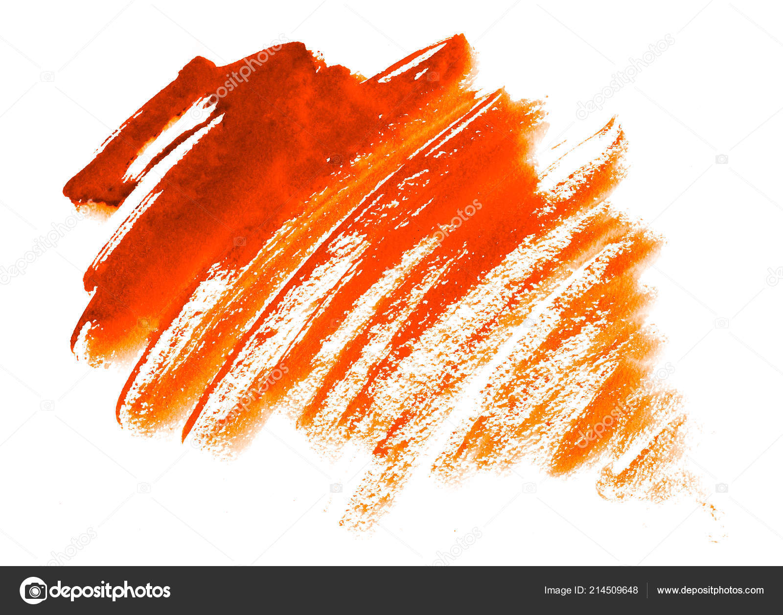 Orange watercolor brush strokes isolated on white — Photo by ...