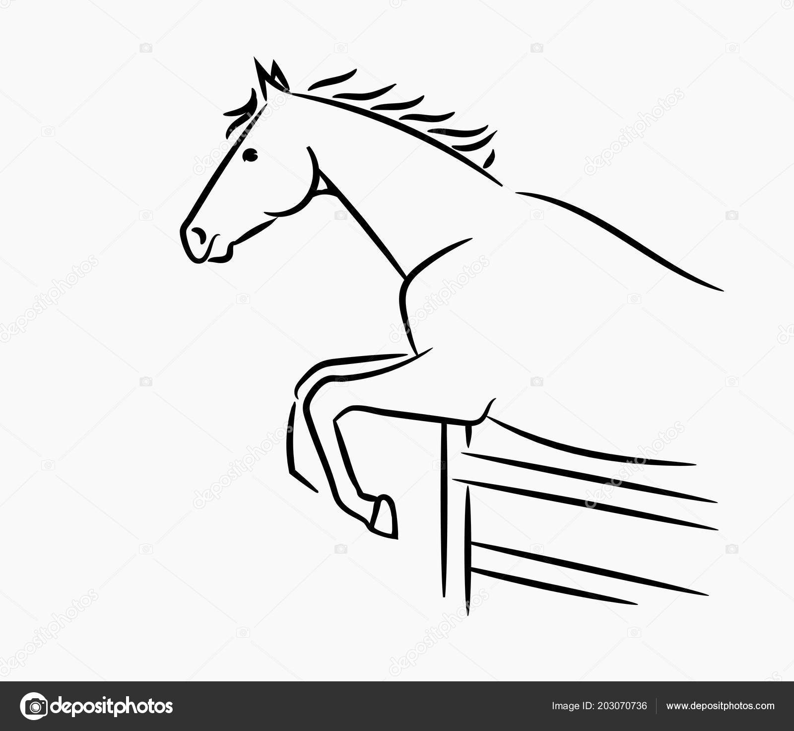 horse head graphic logo template vector illustration white
