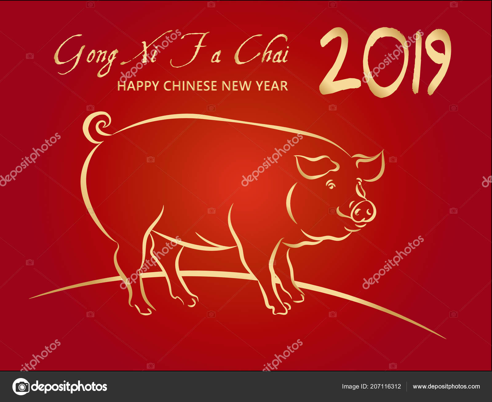 2019 Happy Chinese New Year Year Pig Greeting Card Gold Stock