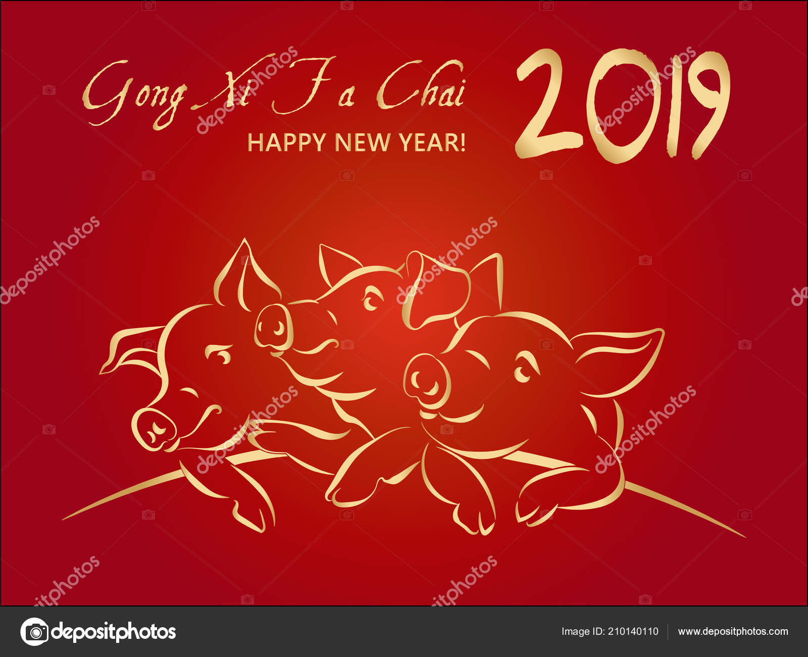 2019 happy chinese new year greeting card with 3 gold pigs translation gong xi fa cai wish you prosperity in the new year on red gradient background