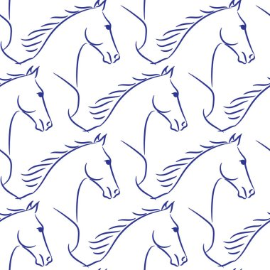 Seamless pattern with blue horses, white background. Realistic vector illustration.