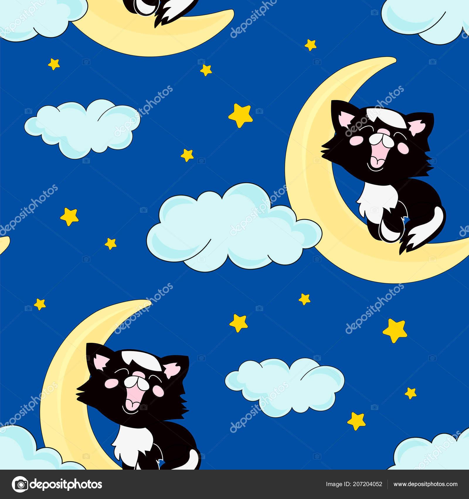 Dormir Sin Fisuras Patron Gato Negro Color Vector Ilustracion Para