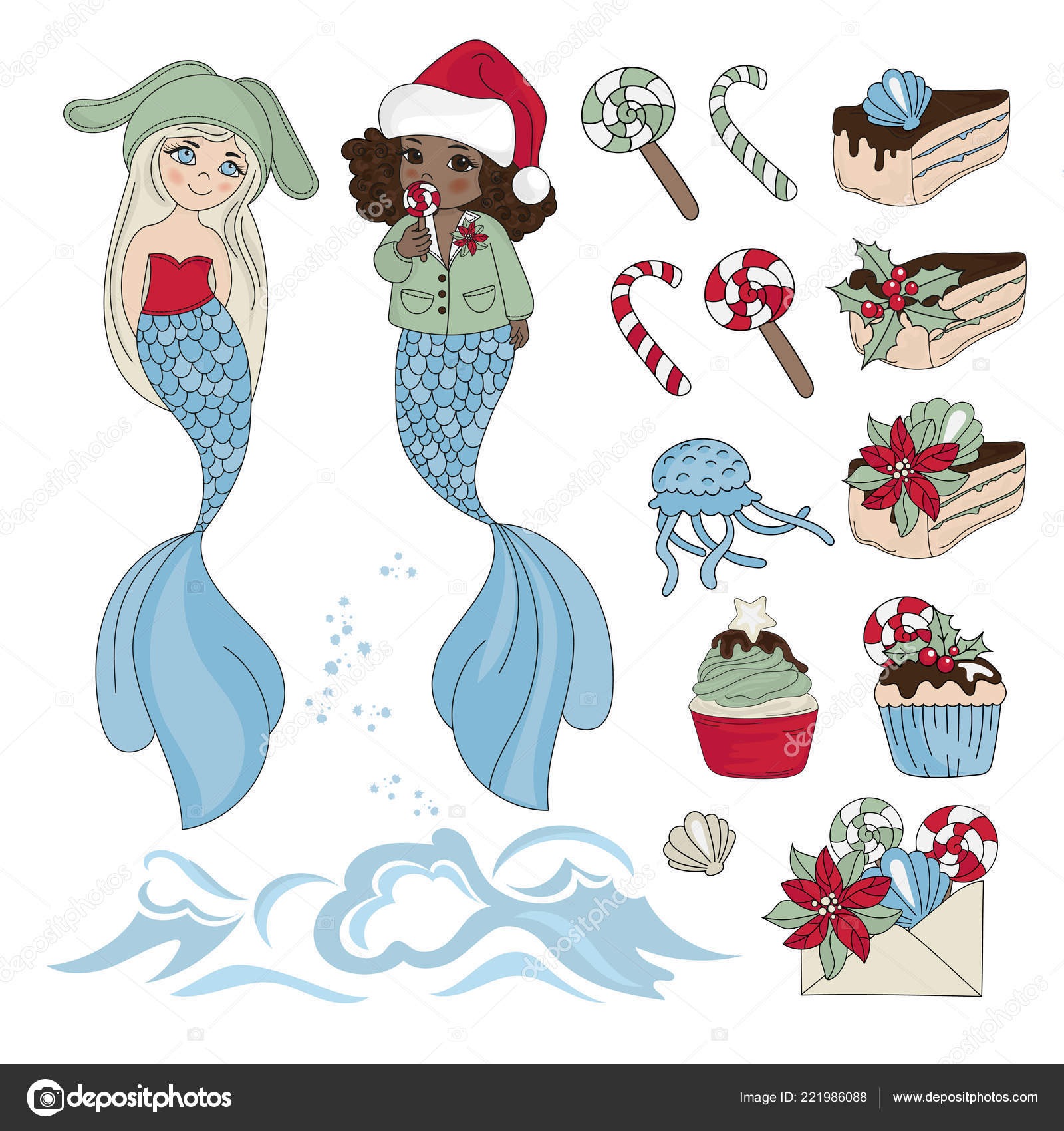 MERMAID YUMMY New Year Color Vector Illustration Set For Birthday And Party Wall Decorations Scrapbooking Baby Book Photo Albums Card Print