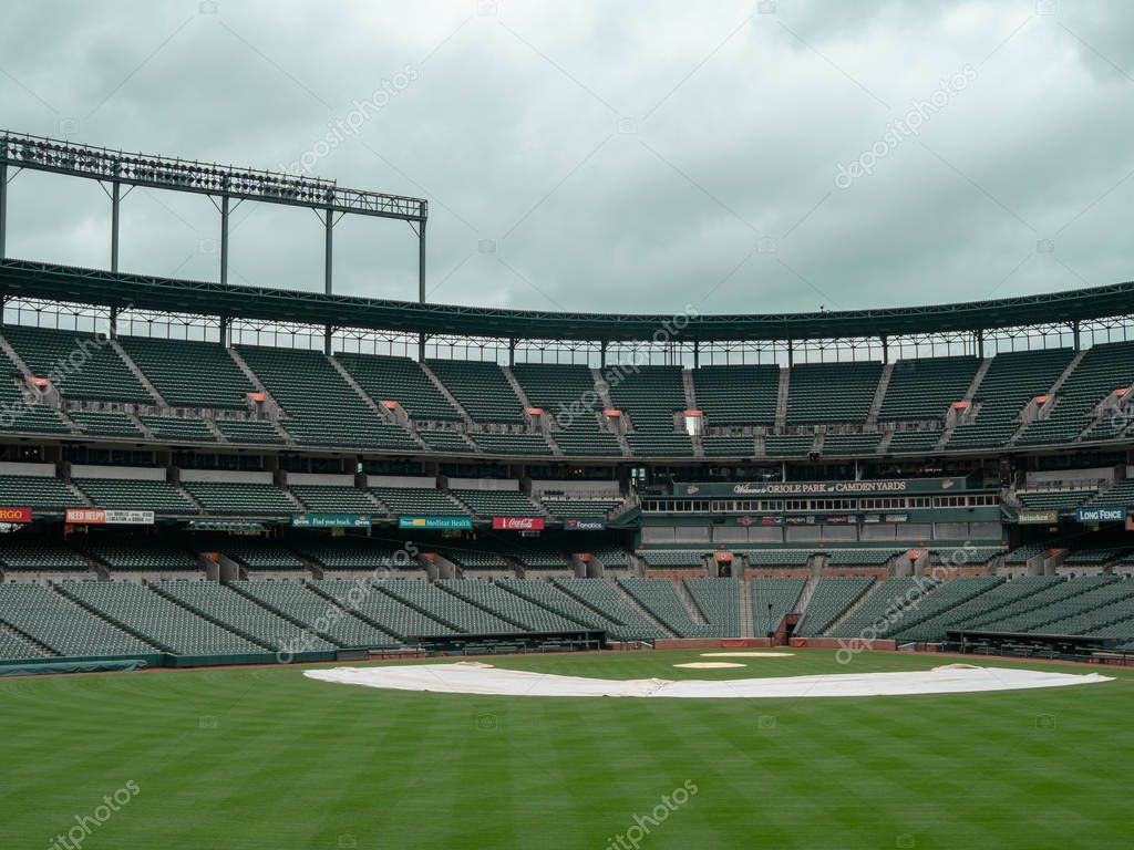 Infield view of Camden Yards, stadium of the Baltimore Orioles, empty in the offseason