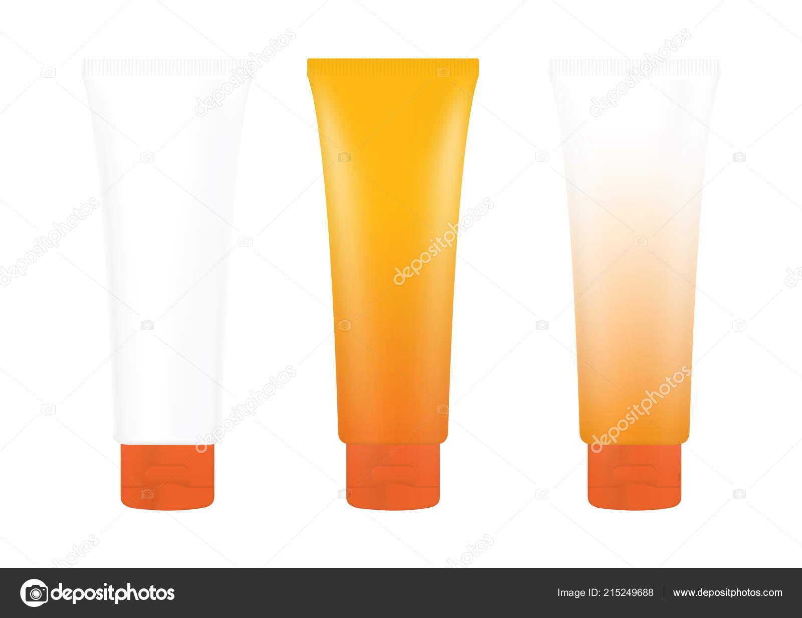 Tube Orange Cream Foam Sunscreen Lotion Bottle White
