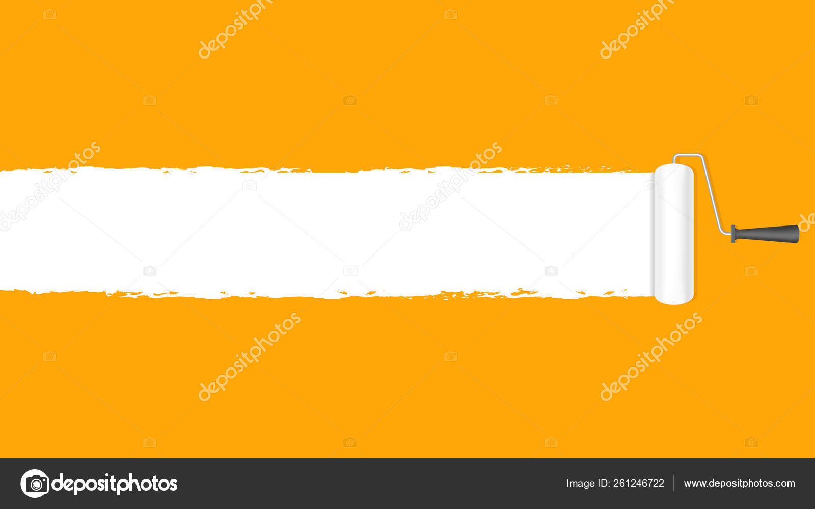 Paint Roller White Orange Wall Background Copy Space Text