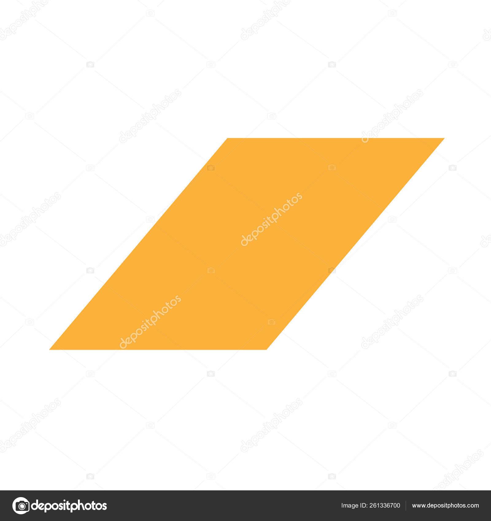 Orange Parallelogram Basic Simple Shapes Isolated White Background