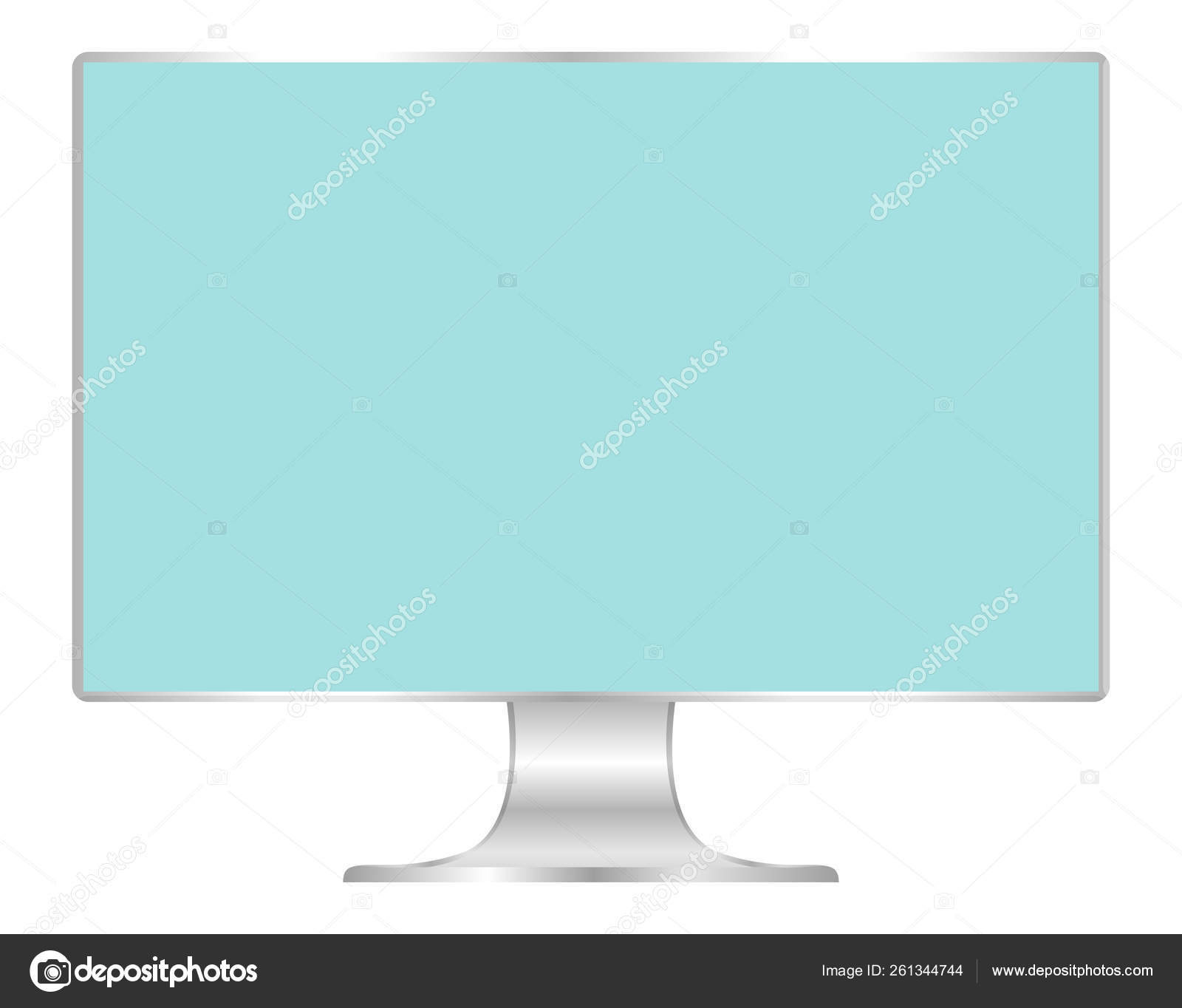 Front Flat Monitor Light Blue Screen Computer Display