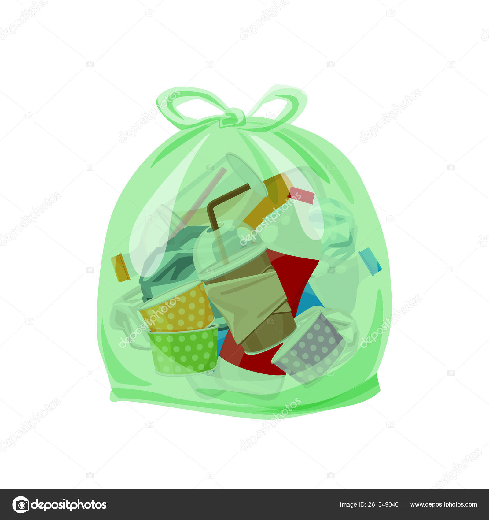 Plastic waste packed in the transparent plastic bags for