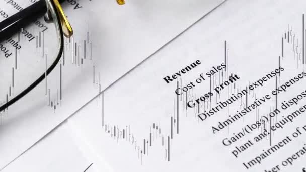 Financial business planning with rate in the chart, Balance sheet accounting.