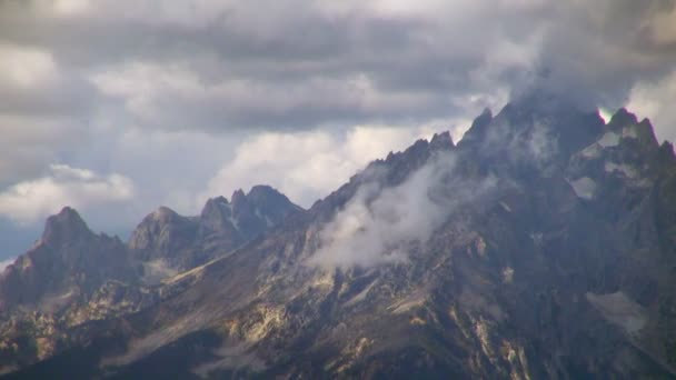 Close-up Time Lapse of Grand Teton National Park Huge Mountains