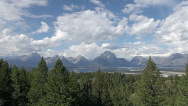 Time Lapse of White Clouds Moving Above Lush Green Forest and Mountains of Grand Teton National Park