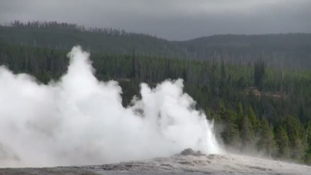Shot of Blowing Low Hot Steam of Geyser at the Amazing Yellowstone National Park