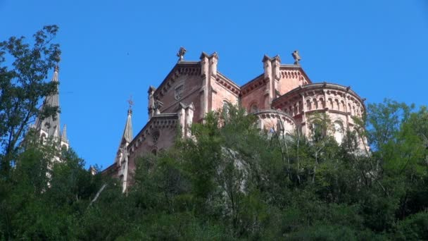 The Beautiful Covadonga Spain Saint of Mary Victory Church View from Below on Day with Clear Skies