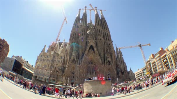 Wide View of the Beautiful and Old Church Named Sagrada Familia Found in Spain Flooded with Tourists