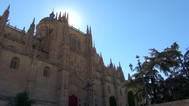 View of the New Cathedral in Salamanca Spain, backlit by the sun - with blue sky, lamppost, trees, birds flying and couple walking.