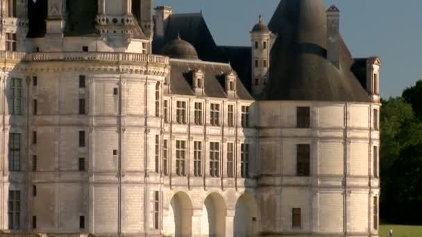 Pan Upward: Amazing Designed Grand Fa?ade and Great Towers of the Chateau de Chambord in France