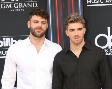LAS VEGAS - MAY 20:  Chainsmokers, Alex Pall, Andrew Taggart at the 2018 Billboard Music Awards at MGM Grand Garden Arena on May 20, 2018 in Las Vegas, NV