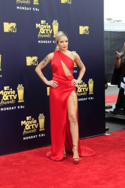 LOS ANGELES - JUN 16:  Halsey at the 2018 MTV Movie And TV Awards at the Barker Hanger on June 16, 2018 in Santa Monica, CA