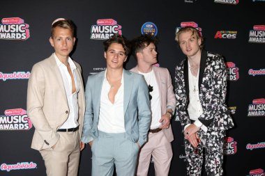 LOS ANGELES - JUN 22:  The Vamps, James McVey, Connor Ball, Tristan Evans, Bradley Simpson at the 2018 Radio Disney Music Awards at the Loews Hotel on June 22, 2018 in Los Angeles, CA