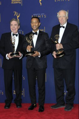 LOS ANGELES - SEP 9:  Sir Andrew Lloyd Webber, John Legend, Tim Rice at the 2018 Creative Arts Emmy Awards - Day 2 - Press Room at the Microsoft Theater on September 9, 2018 in Los Angeles, CA