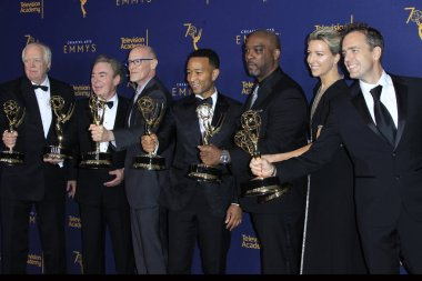 LOS ANGELES - SEP 9:  Tim Rice, Andrew Lloyd Webber, Neil Meron, John Legend, Mike Jackson, Ty Stiklorius, Alex Rudzinski at the 2018 Creative Arts Emmy Awards - Day 2 - Press Room at the Microsoft Theater on September 9, 2018 in Los Angeles, CA