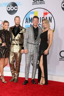 LOS ANGELES - OCT 9:   Brittney Marie Cole, Brian Kelley, Tyler Hubbard, Hayley Hubbard at the 2018 American Music Awards at the Microsoft Theater on October 9, 2018 in Los Angeles, CA
