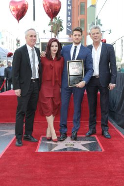 LOS ANGELES - NOV 16:  Tom Corson, Priscilla Presley, Michael Buble, David Foster at the Michael Buble Star Ceremony on the Hollywood Walk of Fame on November 16, 2018 in Los Angeles, CA