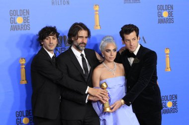 LOS ANGELES - JAN 6:  Anthony Rossomando, Andrew Wyatt, Lady Gaga, Mark Ronson at the 2019 Golden Globe Awards - Press Room at the Beverly Hilton Hotel on January 6, 2019 in Beverly Hills, CA