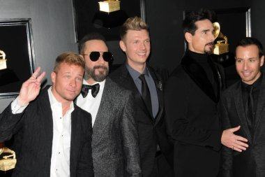 LOS ANGELES - FEB 10:  Backstreet Boys - Brian Littrell, AJ McLean,  Nick Carter, Kevin Richardson, Howie Dorough at the 61st Grammy Awards at the Staples Center on February 10, 2019 in Los Angeles, CA