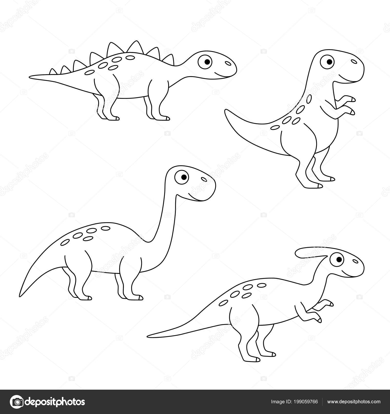 Image of: Prehistoric Vector Illustration Of Extinct Animals Tyrannosaurus Rex Brachiosaurus Stegosaurus Parasaurolophus Stock Illustration Boys Life Magazine Black White Set Dinosaurs Vector Illustration Extinct Animals