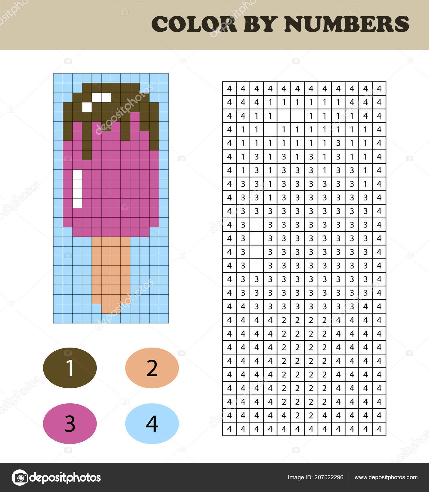 Colore Numeri Gioco Istruzione Bambini Libro Colorare Con Quadrati