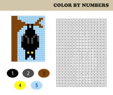 Color by numbers, education game for children. Coloring book with numbered squares. Drawing kids activity. Bat.