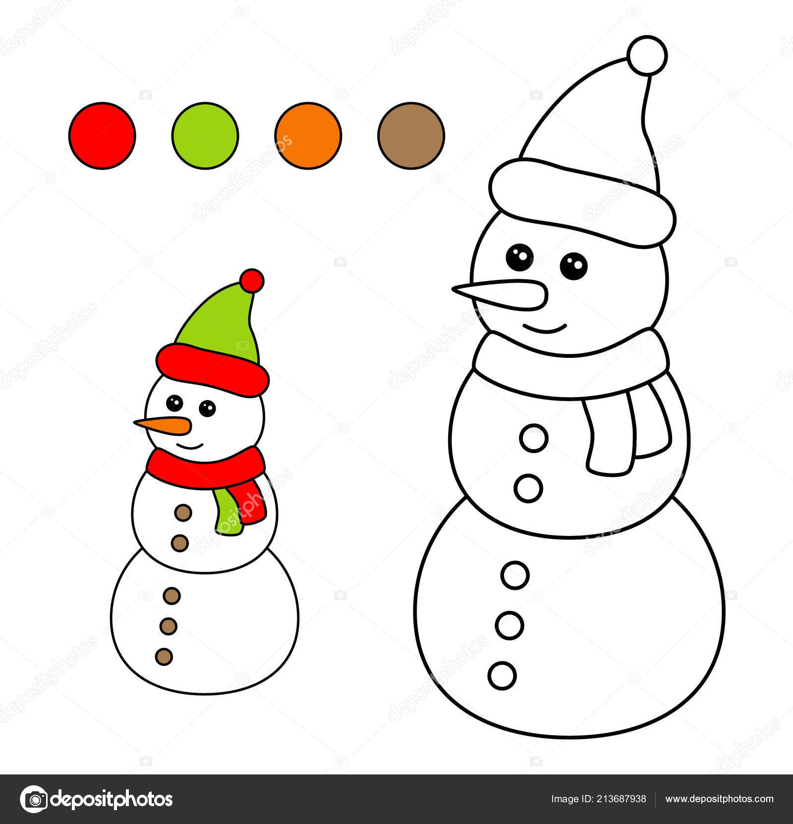 Coloring Book Children Drawing Kids Activity Christmas Snowman Stock Vector C Kalinicheva Maria Mail Ru 213687938