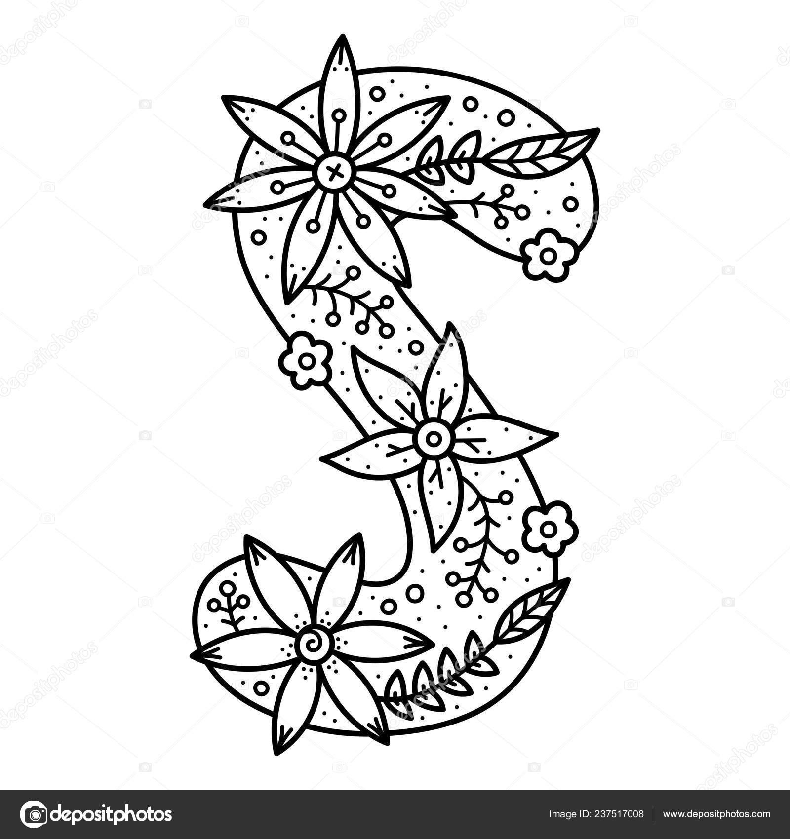 Alfabeto Floral Letra Garabato Blanco Negro Libro Para Colorear