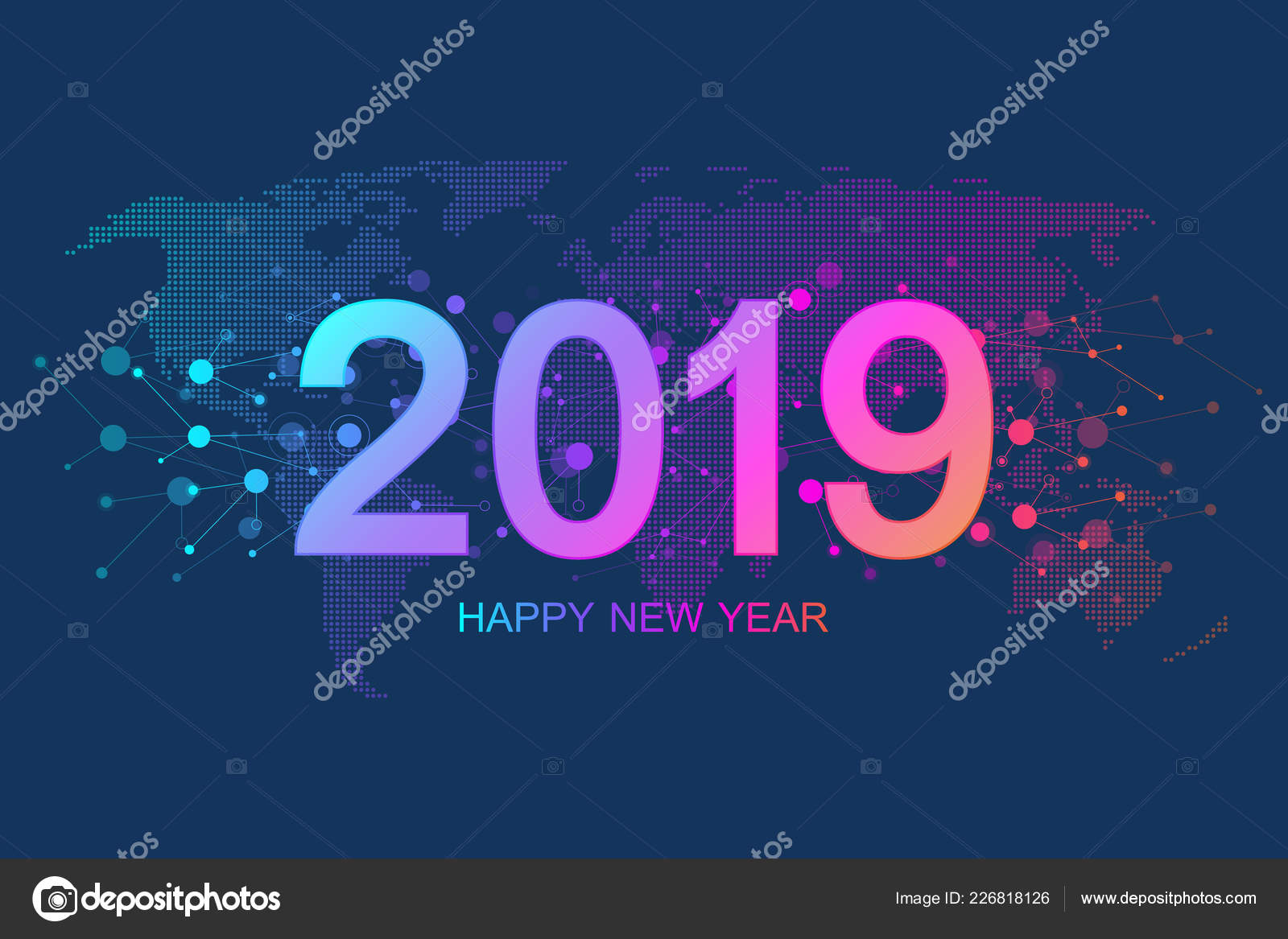 merry christmas and happy new year 2019 greeting card modern futuristic template for 2019 digital data visualization business technology concept