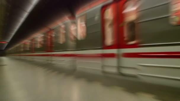 Subway Train with Passengers Arriving to Underground Metro Station, Motion Blur