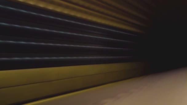 Vlak metra s cestující přijíždějící do podzemní stanice metra, rozmazání pohybu