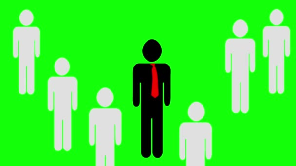 Animation eines Teamführers und die Arbeiter tauchen hinter ihrem Anführer auf. Piktogramm auf orangefarbenem Hintergrund