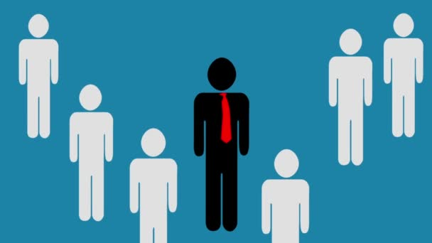 Animation of a Leader of a teamwork and the Workers Pop Up behind Their Leader. Pictogram over orange background
