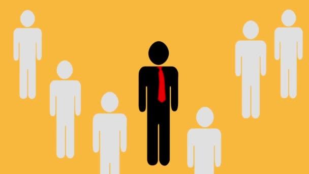 Animace, vůdce týmové práce a pracovníci Pop Up za jejich vůdce. Piktogram přes oranžové pozadí