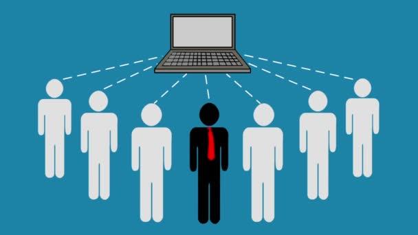 Gruppe von Geschäftsleuten senden und empfangen Informationen von einem Laptop. Teamarbeit, die sich mit einem Server verbindet und Daten weitergibt. Animation des Cloud Computing Konzepts, Geschäftskonzept.