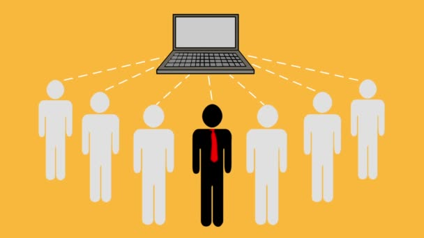 Skupina podnikatelů odesílat a přijímat informace z notebooku. Týmová práce, sdílení dat a připojení k serveru. Animace z konceptu cloud computing, obchodní koncept.