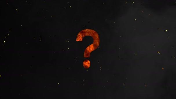 Symbol otazníku v realistických hasicích efektů na tmavém pozadí s jiskřivý, koncept záměny