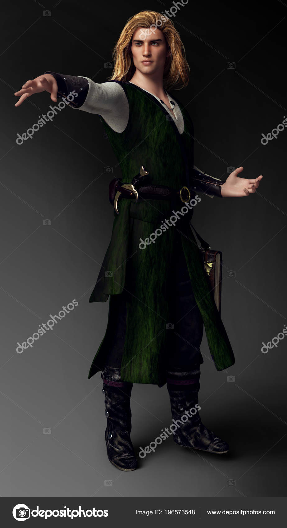 Blonde Hair Mage Handsome Fantasy Male Mage Long Blonde Hair Robes Stock Photo C Ravven 196573548