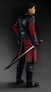 CGI Illustration of Fantasy Male Hunter in Leather Armor with Sword
