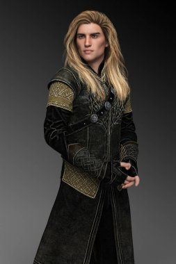 Handsome Fantasy Male Prince with Long Blonde Hair In Leather Armor