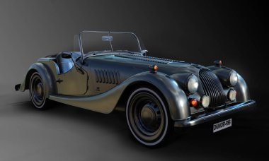 Vintage Dark Silver CGI Roadster in Studio